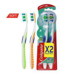 Colgate Toothbrush 360 Whole Mouth Clean Soft Assorted 2pcs